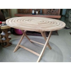 Teak Wood Round Table Garden Spiral