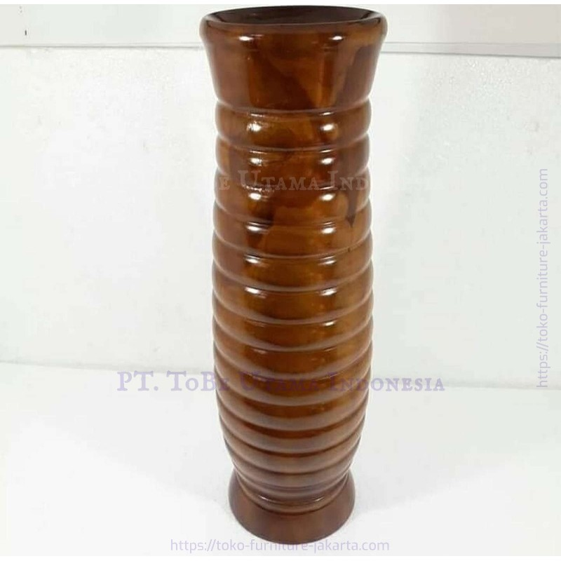 Wood Flowers Pot with Lines