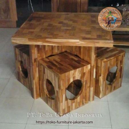 Table Block Teak Set